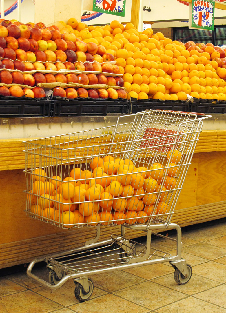 Oranges in cart for blog