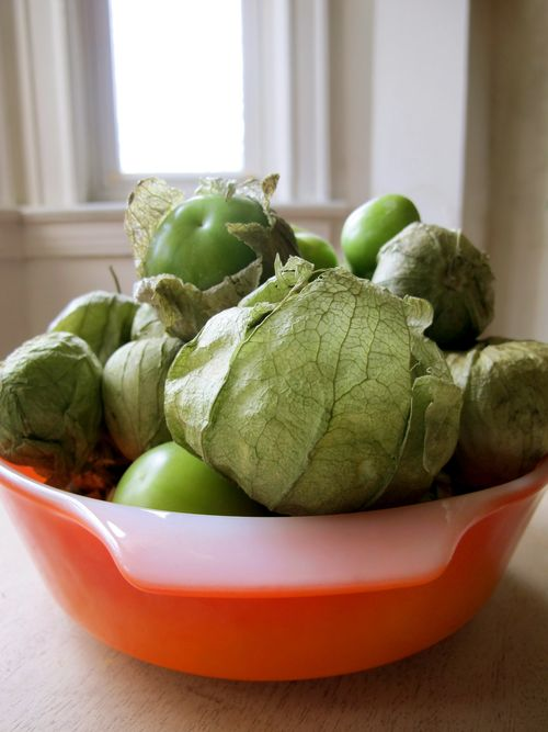 Tomatillos in orange dish 1
