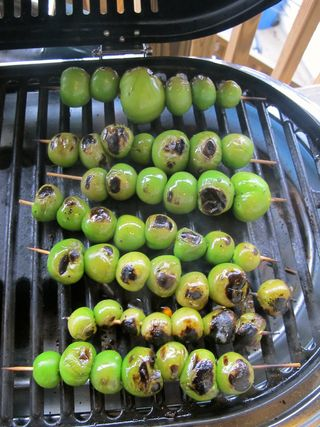 Tomatillos on grill